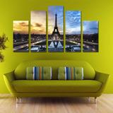 Torre Eiffel Collage Pintura Al Óleo 5 Piezas