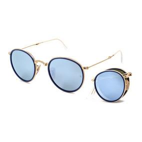 Óculos De Sol Ray Ban Round Folding Rb3517 00130 Ouro Lente f4a324ec1b