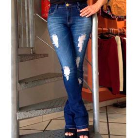 Roupas Femininas Calça Jeans Flare Lycra Rasgos Tramas Used