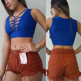 Kit 5 Short Jeans Feminino Destroyed Hot Pants Cintura Alta
