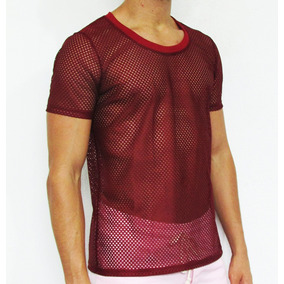 Camisetas Masculinas Tela Transparente Furada Manga Curta 0eafc715c0f