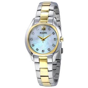 Relógio Bulova Feminino - Madrepérola/brilho Diamante 98p145
