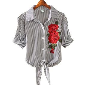 Blusa Bordada Floral A Rayas De Moda
