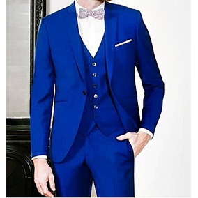 Terno Masculino Slim Semi Brilho Azul Bic + Colete