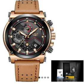 Relógio Masculino Lige 9856 Marron Fundo Preto + Caixa Top