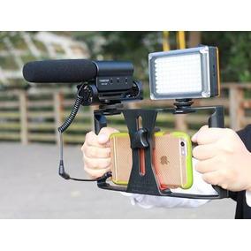 Apoio Video Celular Filmagem Led Microfone P2 Sapata Youtube