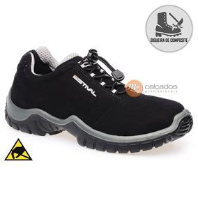 13fe18dd4ff Sapato Estival Preto Antiestático Bico Composite Ca 40992