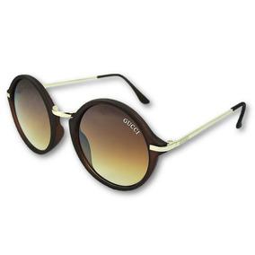 ec8b4d221d87b Óculos De Sol Gucci Feminino Redondo Luxo Uv400 Frete Grátis