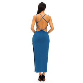 Sexy Vestido Azul Acero Espalda Desnuda Moderno Fiesta 61165