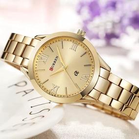 Relógio Feminino Quartzo Curren 9007 Calendário Gold E Rose
