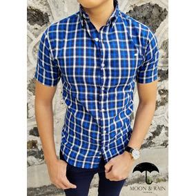 Camisa Slim Fit Marino Cuadros Azules Y Blancos Moon & Rain