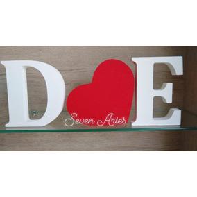 Kit 2 Letras Decorativa E 1 Coração Mdf Noiva Casamento Boda