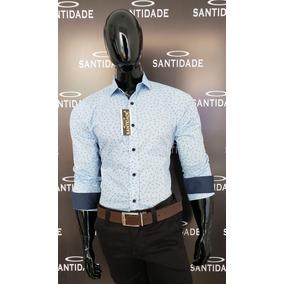 Camisa Social Masculina 100% Algodão Manga Longa Slim Fit