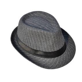 Grey - Hombres Mujeres Fedora Sombrero Cubano A Rayas E-4798 3eb2d8f5898