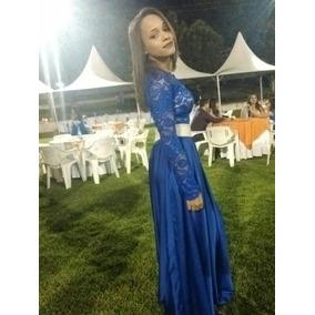 Croped E Saia Longa Azul Para Festa