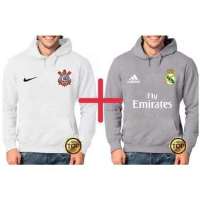 ec15f9ead709f Kit 2 Blusas Moletom Corinthians + Real Madrid Moleton