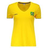 Camiseta Olympikus Brasil Vôlei Cbv 2016 Feminina Amarela 0a0d3ba84bdc9