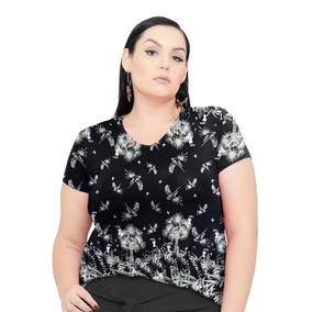 Kit 4 Roupa Feminina Blusa Bata Gola V De Malha Plus Size