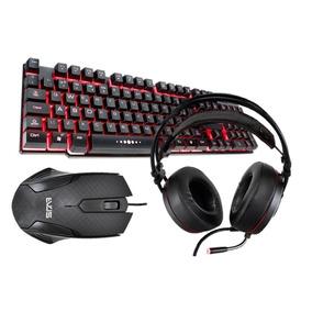 Teclado E Mouse Gamer + Headset Gamer Premium Evus Top