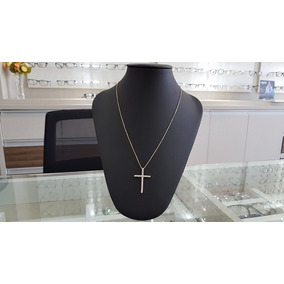 Cordão Colar Feminino Crucifixo Cravejado Zirconias - 7287