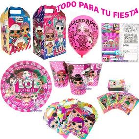 Lol Surprise Fiesta Platos Vasos Cajas Dulceros Invitaciones