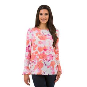 Blusa Para Dama Hilary Radley Blush/pink Blurred Floral