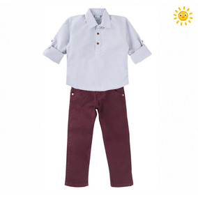 Conjunto Infantil Social Menino Calça Vinho E Camisa 1-2-3 f94327148d3