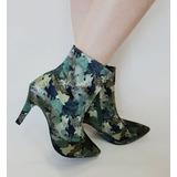 Bota Sapato Feminino Cano Curto Estampa Camuflado Salto 8,5