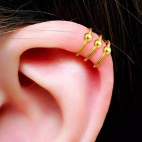 Piercing Falso De Helix, Orelha, Cartilagem Captive Dourado