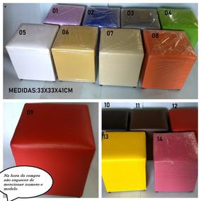 Puff Quadrado Kit Com 4 Peças Em Corino Direto De Fabrica