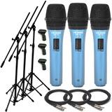3 Microfonos Dinamicos + 3 Pies + 3 Pipetas + 3 Cables Envio