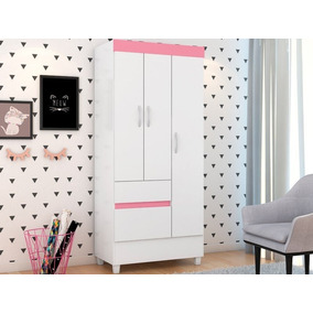 Guarda-roupa Compacto Com 3 Portas Wind Branco/rosa Flex-dem