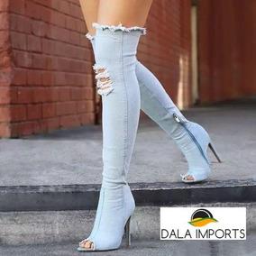 Bota Peep Toe Jeans Over The Knee Alto Salto 5 Cores Brinde