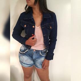 Roupas Femininas Short Jeans Lycra Rasgo Pedras Unli@ Shpm06