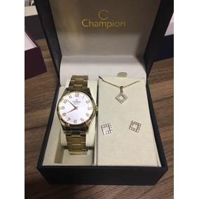 1755cb1c808 Kit Relógio Champion Feminino Dourado Lindo Com Semi Jóias