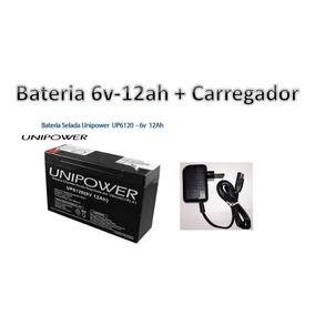 Kit Bateria 6v 12ah + Carregador - Moto Eletrica Brinquedos