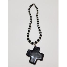 Gargantilla Collar Negro Y Blanco Dije Cruz Ceramica