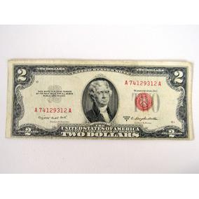 Cédula Antiga 2 Dólar Colecão Bc Séries 1953 B Selo Vermelho