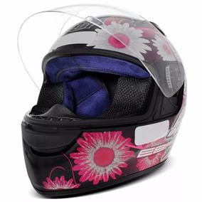 Capacete Moto Fechado Ebf E0x Feminino Fada Preto E Pink