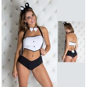 Fantasia Coelhinha Da Playboy Com Luvas E Orelhinhas