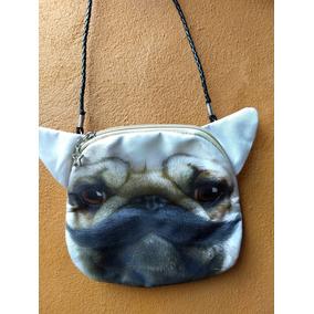Bolsa Animal Print 3d Tiracolo Cara De Cachorro Pug Bigode