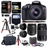 Cámara Fotográfica Canon Rebel T6 - 4 Lentes Y 15 Accesorios