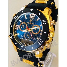 Relógio Luxo Dourado Militar Potenzia Barato Top Promoção !