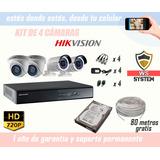 Kit De 4 Cámaras De Seguridad Hikvision | Disco Duro | Cable