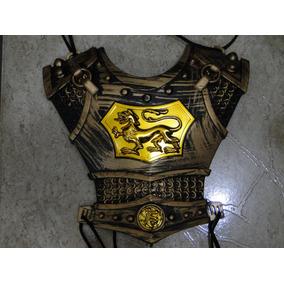 Gladiador Infantil Armadura + 1 Machado + 1 Espada + 1escudo
