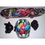 Skate Infantil Homem-aranha Kit Segurança Frete Grátis