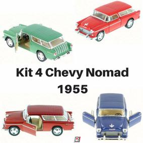 Kit 04 Miniatura Coleção Chevy Nomad Antigo 1955 1/40 Metal