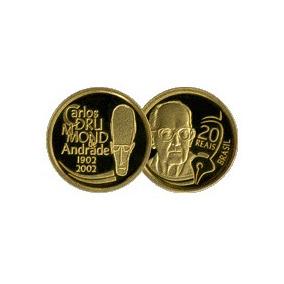 Moeda Ouro Comemorativa Centenário Carlos Drummond