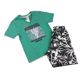 Conjunto Infantil Masculino Camiseta Sobreposião + Bermuda