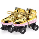 Patins Com Led 4 Rodas Dourado Fun Ref. 8310